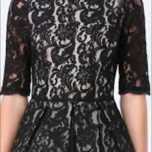 BEBE fit and flare black lace dress, size 2